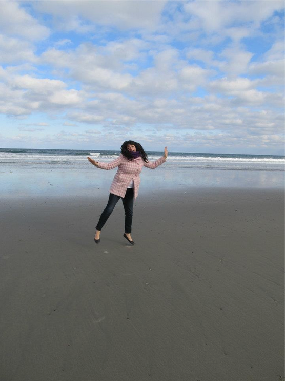 My sis is great. As are her coats. And beachfront leaps.