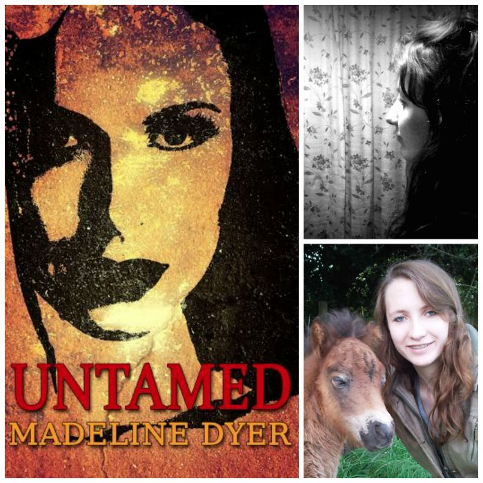 Clockwise from left: UNTAMED cover, Madeline Dyer's author portrait; Dyer with her pony.